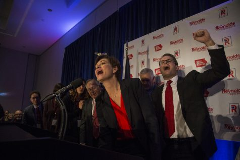 Gov. Kim Reynolds and Lt. Gov. Adam Gregg wave at the crowd at the Hilton in Des Moines on Wednesday, Nov. 7, 2018. Reynolds defeated her opponent, Democratic candidate Fred Hubbell in the race for Iowa governor.
