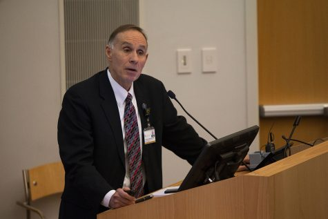 "Brooks Jackson, MD, MBA, University of Iowa vice president for medical affairs and dean of the UI Carver College of Medicine, speaks to attendees during ""State of the Enterprise: Strengths, Challenges, and the Path Forward"" at the Medical Education and Research Facility on Wednesday, Nov. 28, 2018. Jackson provided an overview of UI health care research."