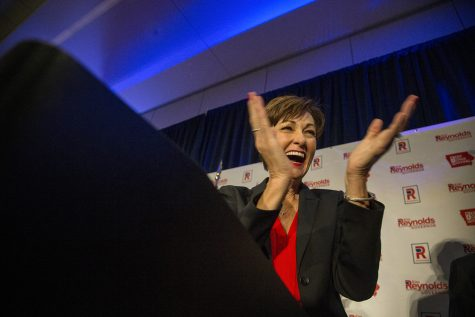 Gov. Kim Reynolds addresses her supporters at the Hilton in Des Moines on Wednesday, Nov. 7, 2018. Reynolds defeated her opponent, Democratic candidate Fred Hubbell on Tuesday.