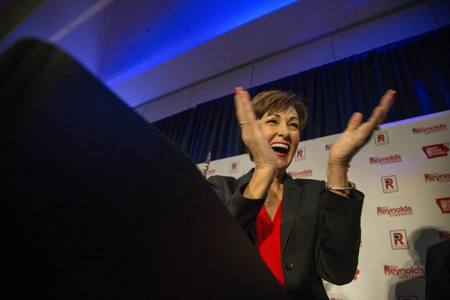 Gov.+Kim+Reynolds+addresses+her+supporters+at+the+Hilton+in+Des+Moines+on+Wednesday%2C+Nov.+7%2C+2018.+Reynolds+defeated+her+opponent%2C+Democratic+candidate+Fred+Hubbell+on+Tuesday.