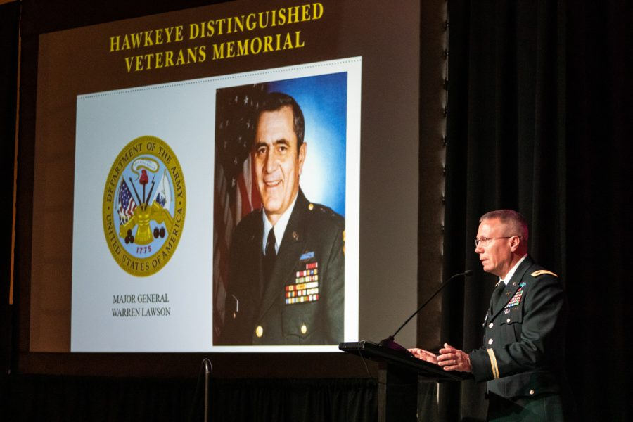Col.+David+Nixon+of+the+Iowa+Army+National+Guard+receives+a+Hawkeye+Distinguished+Veteran%27s+Award+on+behalf+of+Maj.+Gen.+Warren+Lawson+at+the+IMU+on+Thursday%2C+Nov.+15%2C+2018.+Lawson+played+center+for+the+Iowa+football+team+as+an+undergrad+and+was+the+team%27s+MVP+in+1954.+