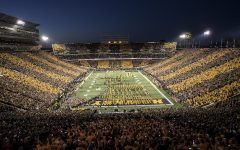The Hawkeyes take the field before their game against Wisconsin at Kinnick Stadium on Saturday, September 22, 2018. The Badgers defeated the Hawkeyes 28-17.