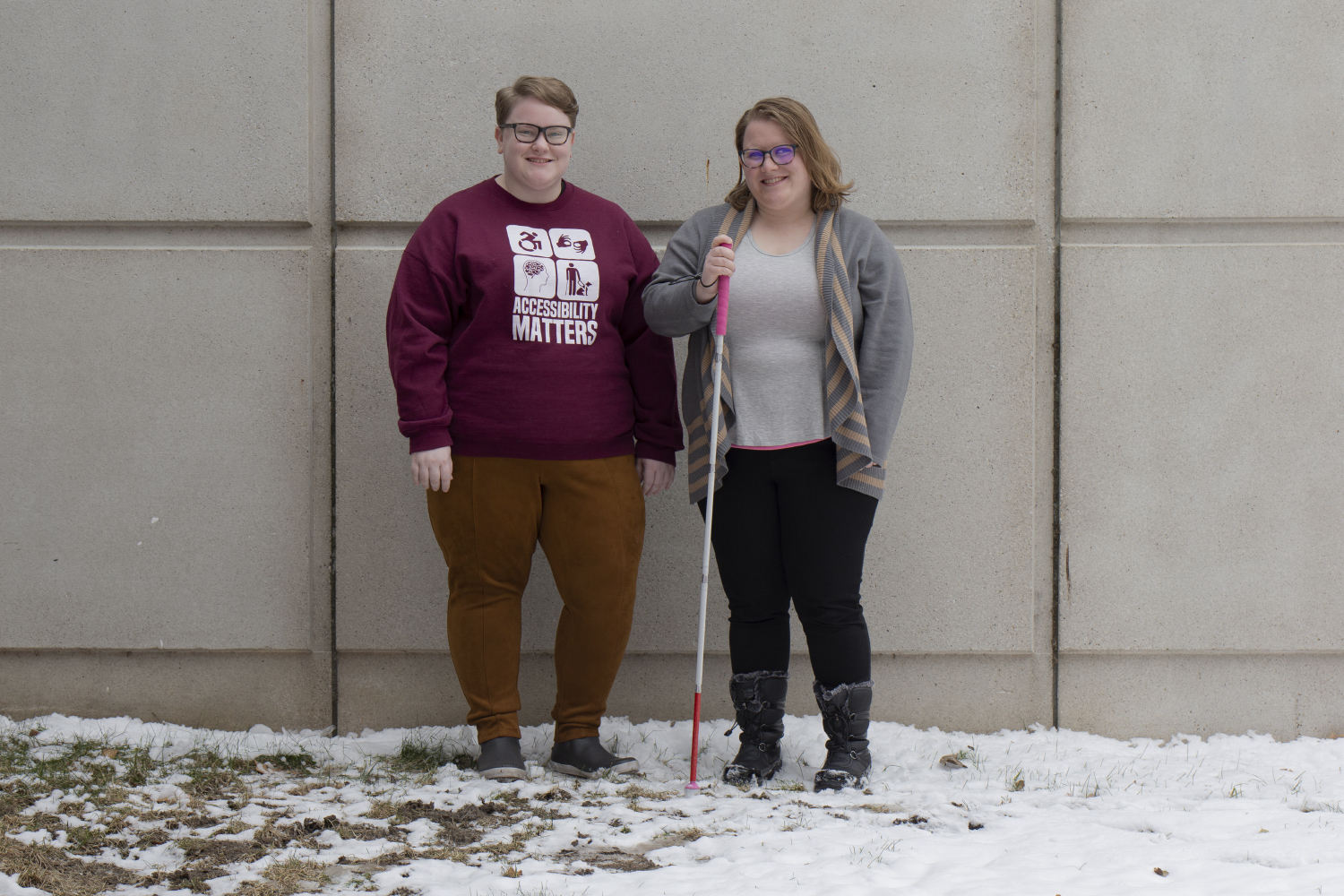 UI Students for Disability Advocacy & Awareness President-elect Kaydee Ecker (left) and President Andrea Courtney pose for a portrait on Wednesday, Nov. 28, 2018. A petition launched by their organization that aims to re-locate Student Disability Services by 2020 has garnered over 2,800 signatures.