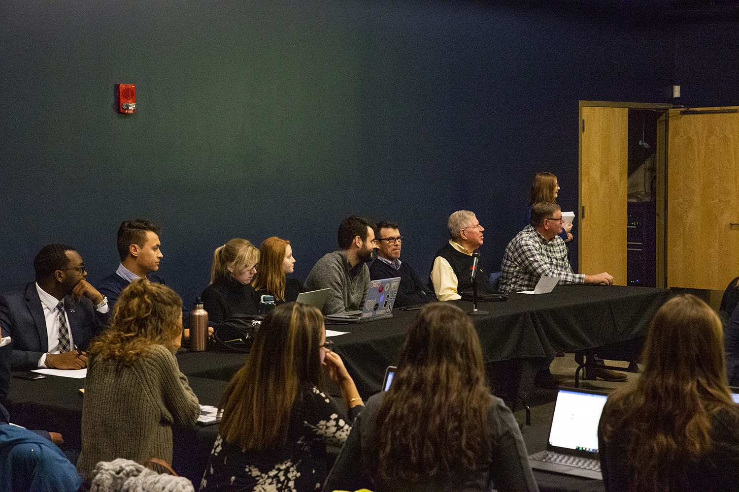 Panelists discuss issues during the UISG completion grant meeting at the IMU on Tuesday, November 27, 2018.