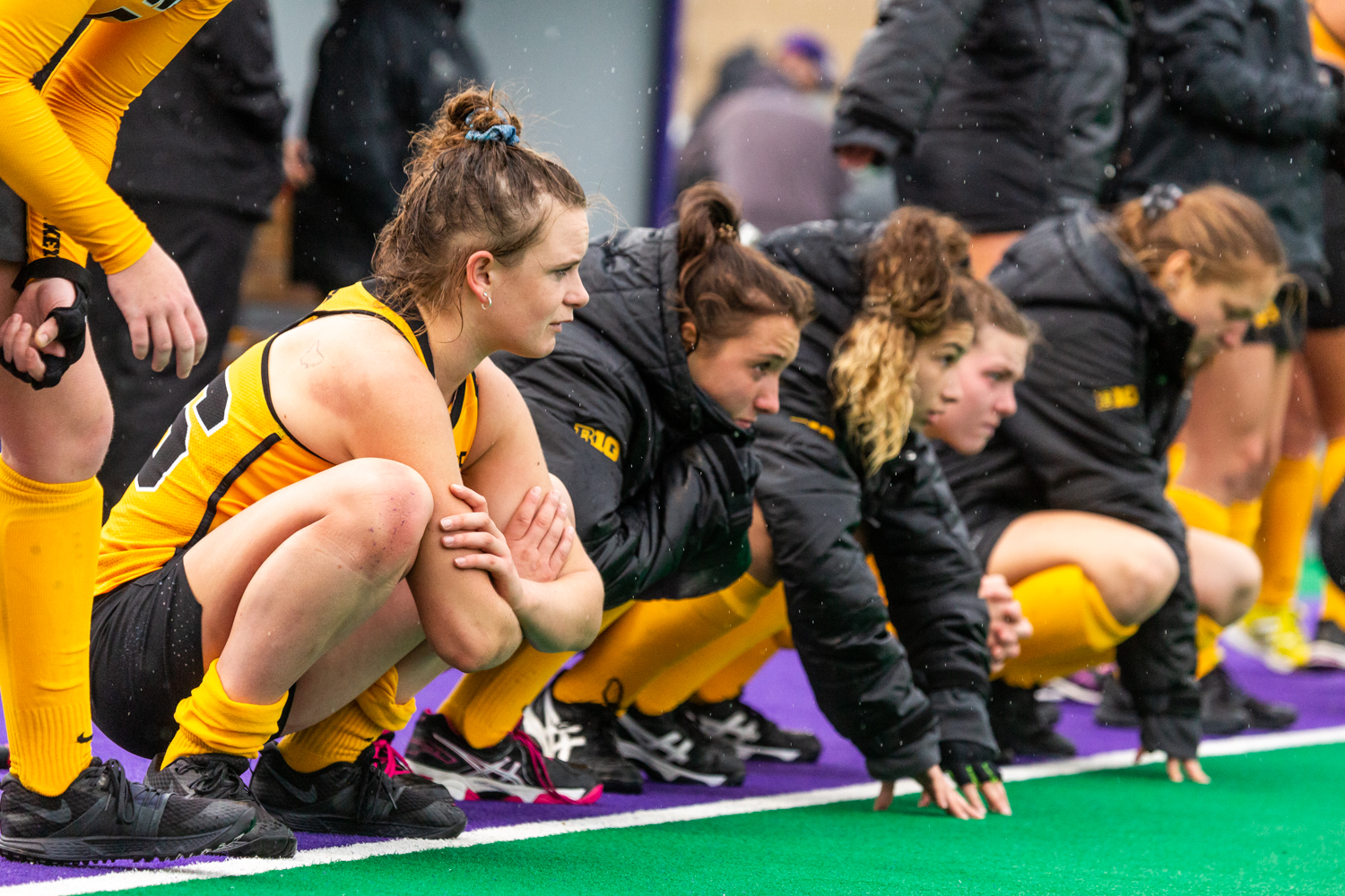 Iowa players cool down on the sidelines after the Championship Game in the Big Ten Field Hockey Tournament at Lakeside Field in Evanston, IL on Sunday, Nov. 3, 2018. The no. 2 ranked Terrapins defeated the no. 8 ranked Hawkeyes 2-1.