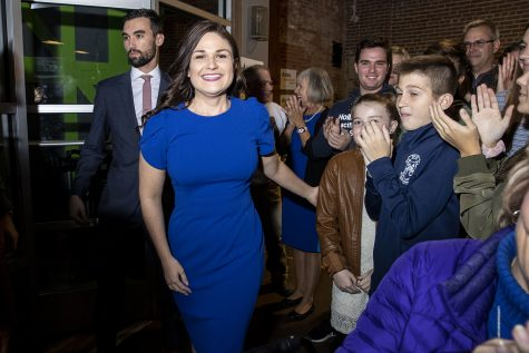 Democratic candidate for Iowa's 1st Congressional District Abby Finkenauer is greeted by supporters during a watch party at 7 Hills Brewing Company in Dubuque on Tuesday, Nov. 6, 2018. Finkenauer defeated incumbent Republican Rod Blum and, along with Alexandria Ocasio-Cortez, NY-14, has become one of the first women under 30 elected to the U.S. House of Representatives.  (Nick Rohlman/The Daily Iowan)
