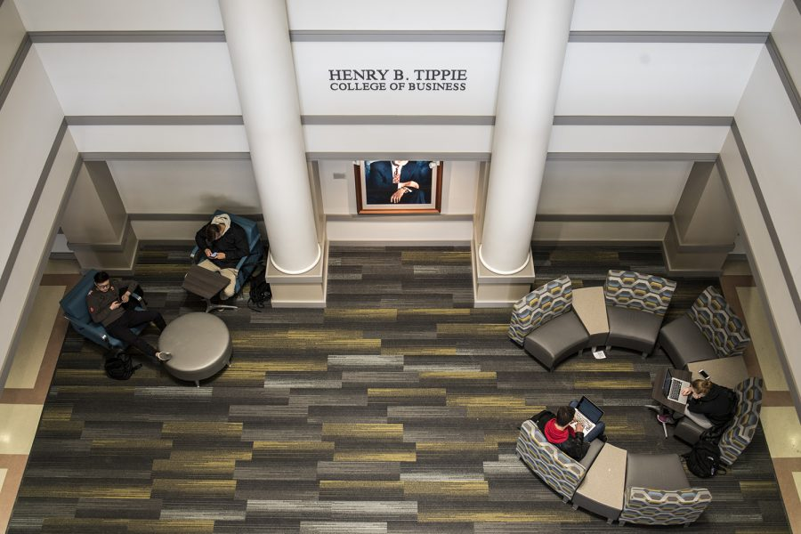 Students roam the halls of the Pappajohn Buisiness Building on Monday, Feb. 12, 2018. The Tippie College of Business which is housed in Pappajohn is instituting a new Masters of Business Analytics Program in fall of 2018.