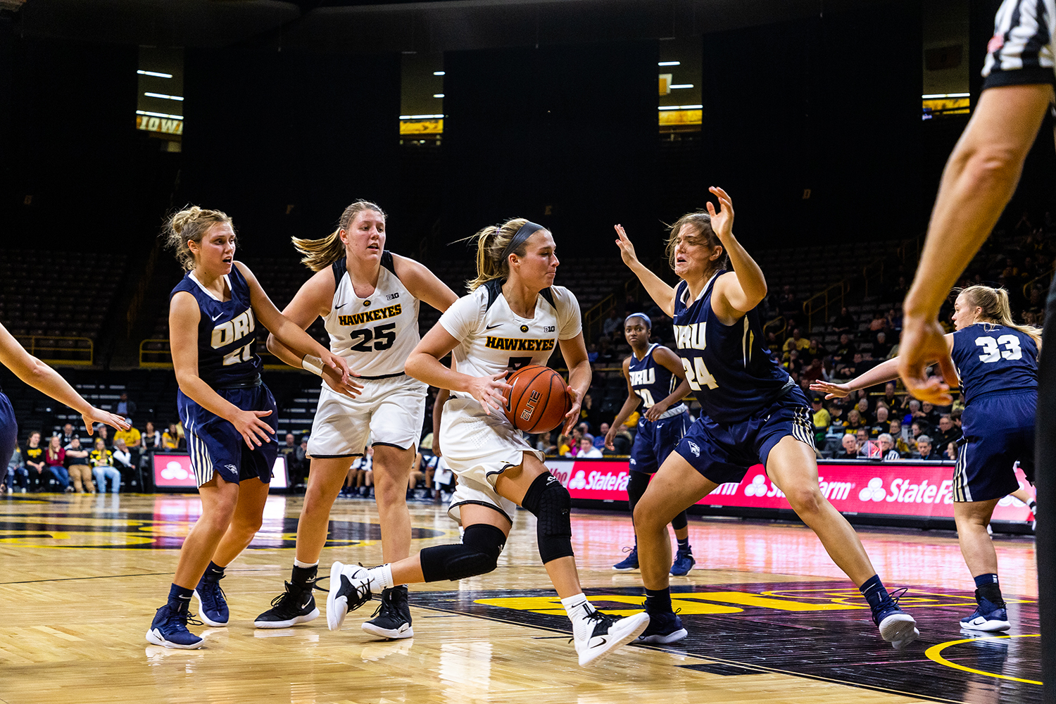 Iowa+guard+Makenzie+Meyer+No.+3+drives+into+the+lane+during+a+women%27s+basketball+game+against+Oral+Roberts+University+on+Friday%2C+Nov.+9%2C+2018.+The+Hawkeyes+defeated+the+Golden+Eagles+90-77.