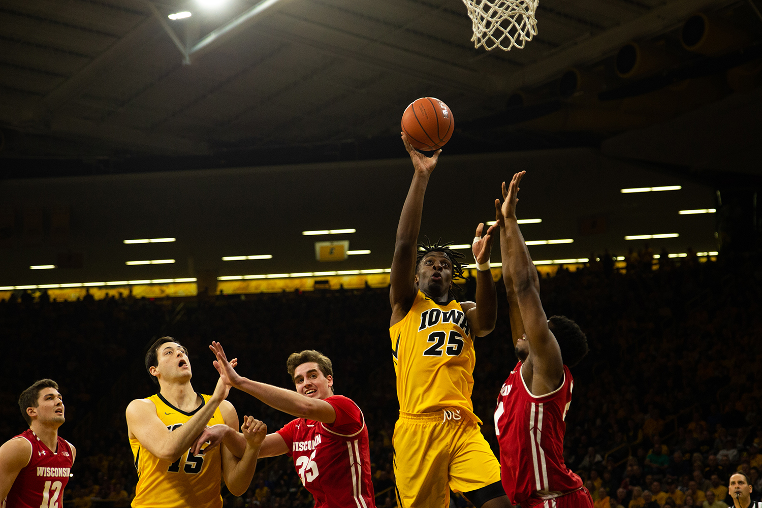 Iowa forward Tyler Cook shoots the ball during Iowa's game against Wisconsin at Carver-Hawkeye Arena on November 30, 2018. The Hawkeyes were defeated by the Badgers, 72-66.(Megan Nagorzanski/The Daily Iowan)
