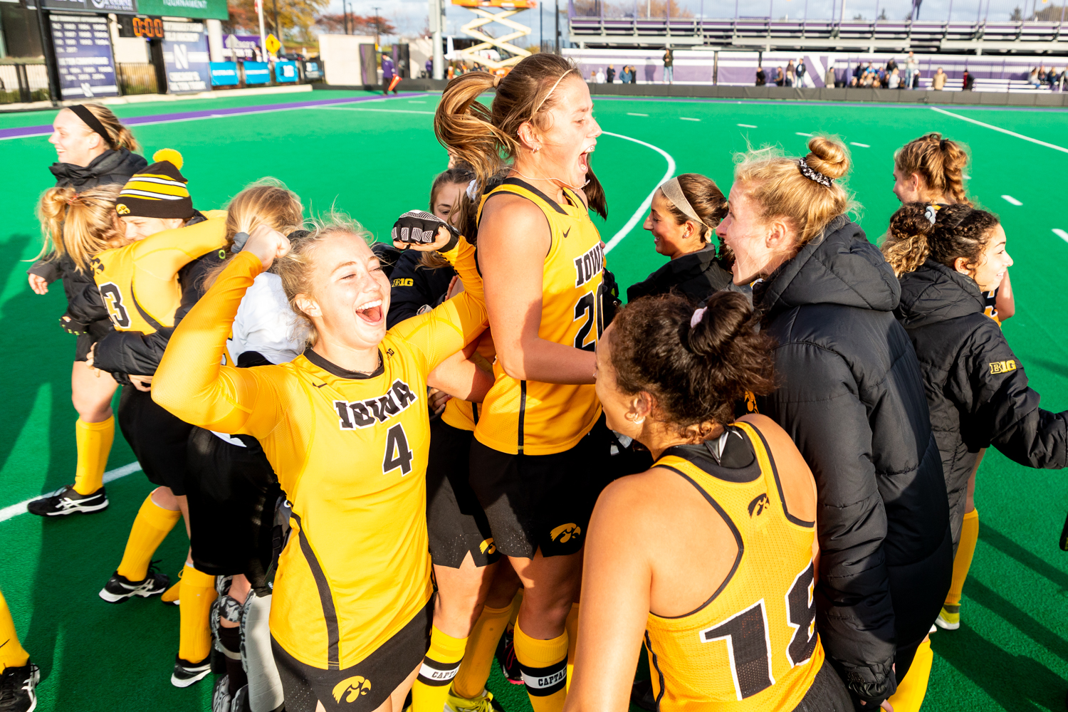 Iowa midfielder Makenna Grewe celebrates with her team after the Semifinals in the Big Ten Field Hockey Tournament at Lakeside Field in Evanston, IL on Friday, Nov. 2, 2018. The no. 8 ranked Hawkeyes defeated the no. 7 ranked Wolverines 2-1. Iowa will play no. 2 ranked Maryland for the championship on Sunday. (David Harmantas/The Daily Iowan)