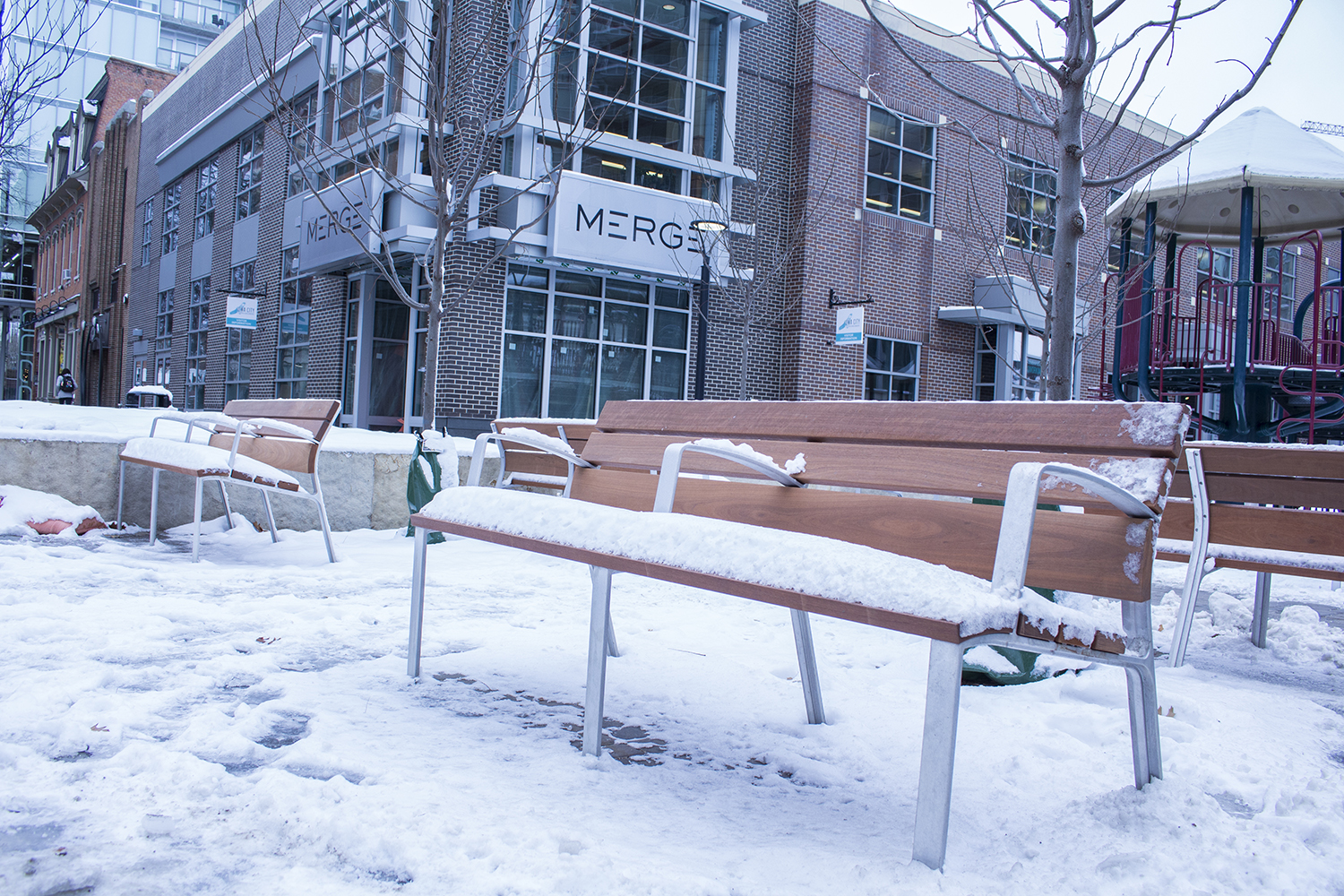 Benches are seen at the Ped Mall on Wednesday, November 28, 2018.