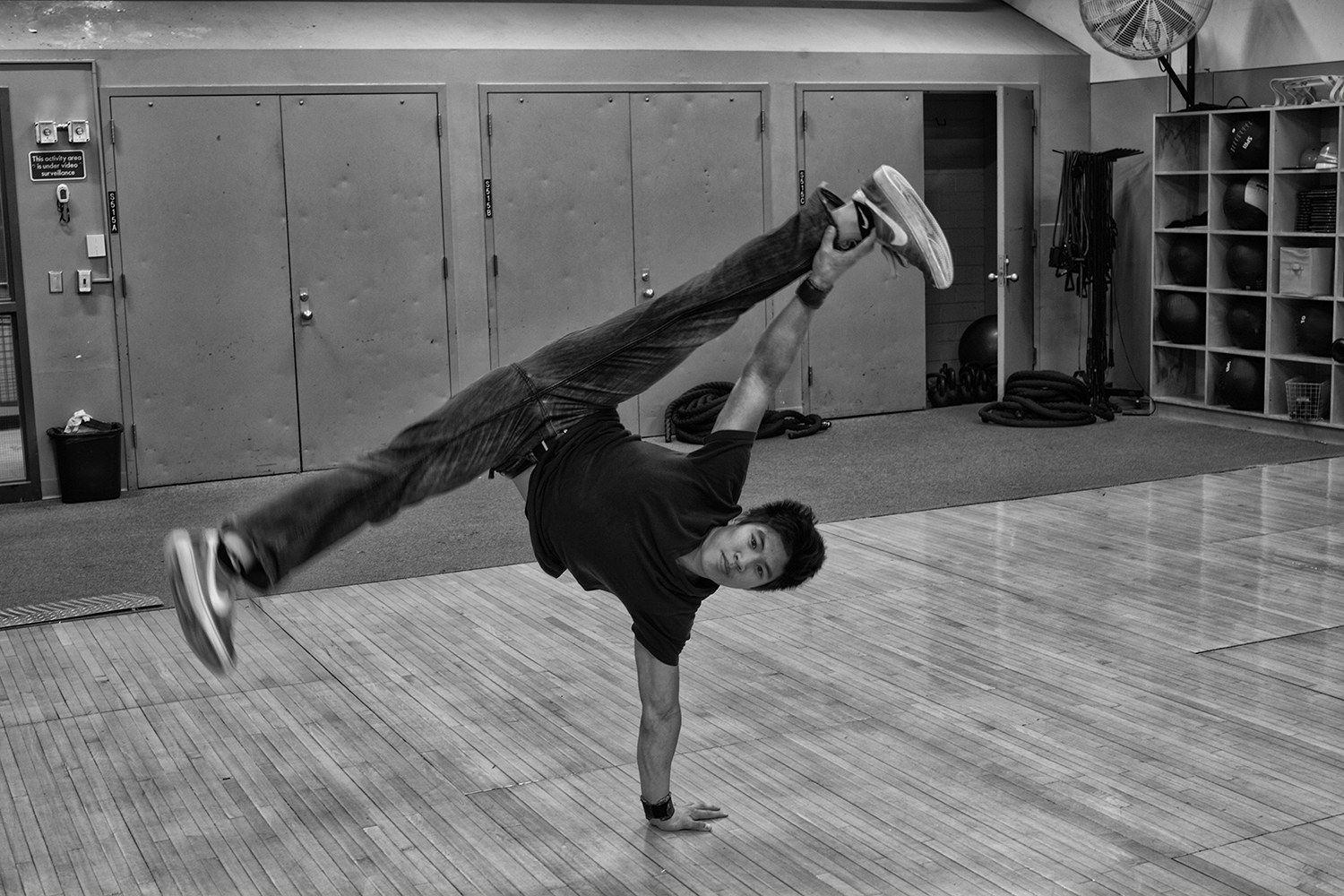 University of Iowa student, Wesley Estrada practices his breakdancing routine on Wednesday, Nov. 14, 2018. Wesley a.k.a.