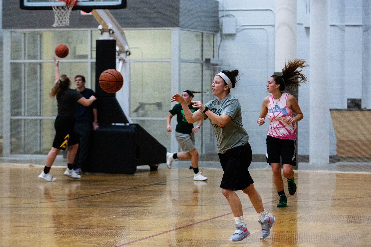 Members of the Iowa Women's Club Basketball team practice at the field house on Oct. 29, 2018. The club, in its first year is preparing for a tournament in December.