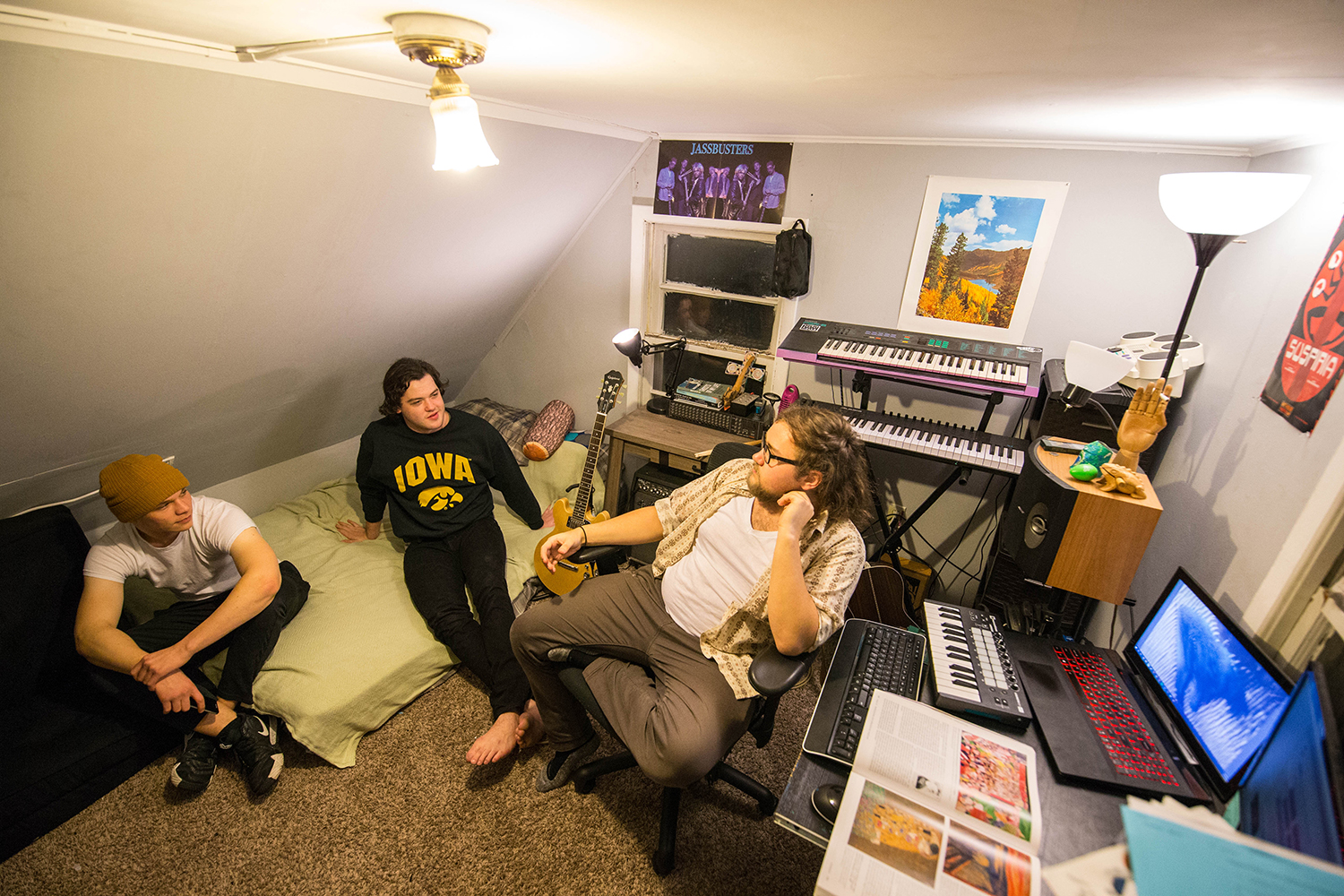 The psychedelic rock band Waverly as seen in the space where they produce their music. From left, Brendan and Ethan hang out in Iowa City on Nov. 13, 2018.