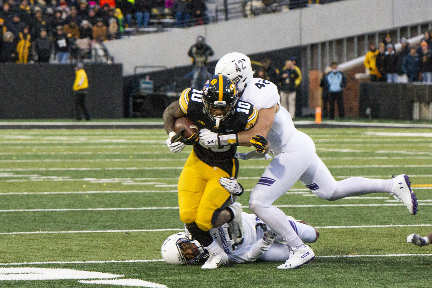 Iowa running back Mekhi Sargent runs the ball during the Iowa/Northwestern game at Kinnick Stadium on Saturday, Nov. 10, 2018. The Wildcats defeated the Hawkeyes 14-10.