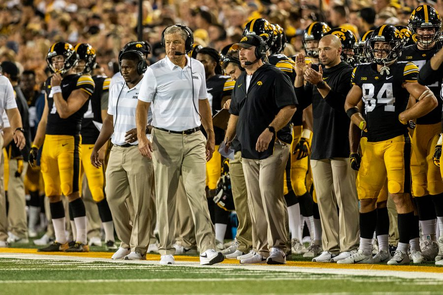 Iowa+head+coach+Kirk+Ferentz+paces+the+sidelines+during+a+game+against+Northern+Iowa+at+Kinnick+Stadium+on+Saturday%2C+Sept.+15%2C+2018.+The+Hawkeyes+defeated+the+Panthers+38%E2%80%9314.+