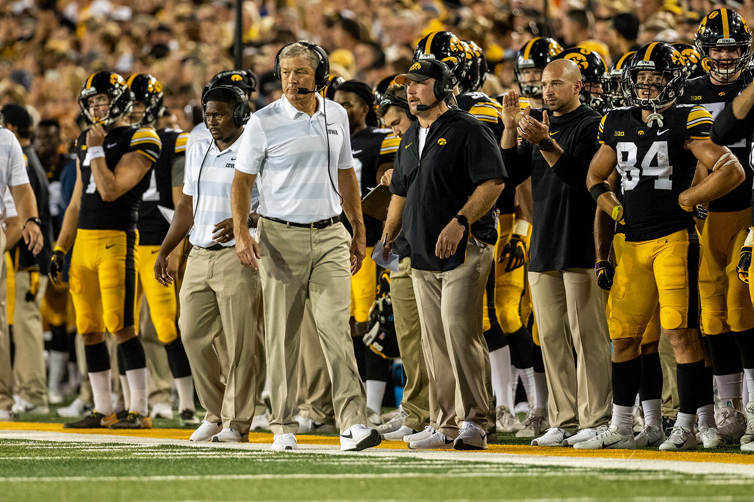 Iowa head coach Kirk Ferentz paces the sidelines during a game against Northern Iowa at Kinnick Stadium on Saturday, Sept. 15, 2018. The Hawkeyes defeated the Panthers 38–14.