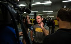 Alex Marinelli answers questions during Wrestling Media Day at the Dan Gable Wrestling Complex on Monday, Nov. 5, 2018.