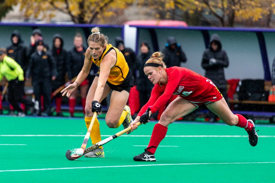 Iowa midfielder Ellie Holley fights for the ball during the Championship Game in the Big Ten Field Hockey Tournament at Lakeside Field in Evanston, IL on Sunday, Nov. 3, 2018. The No. 2 ranked Terrapins defeated the No. 8 ranked Hawkeyes, 2-1.