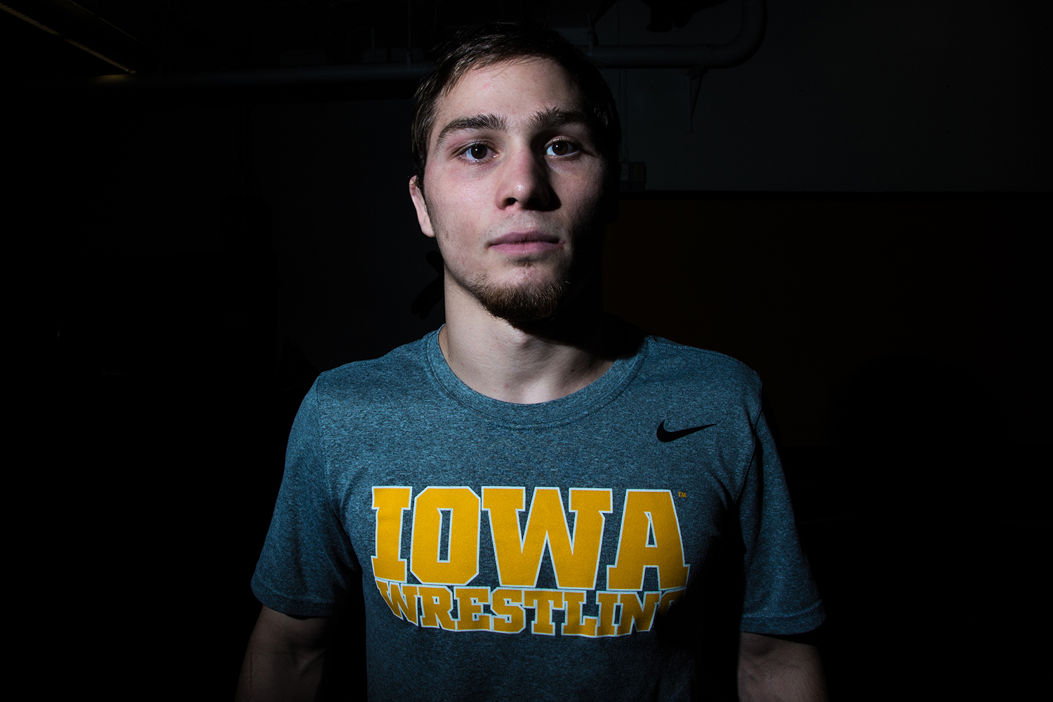 Spencer Lee stands for a portrait during Wrestling Media Day at the Dan Gable Wrestling Complex on Monday, Nov. 5, 2018.