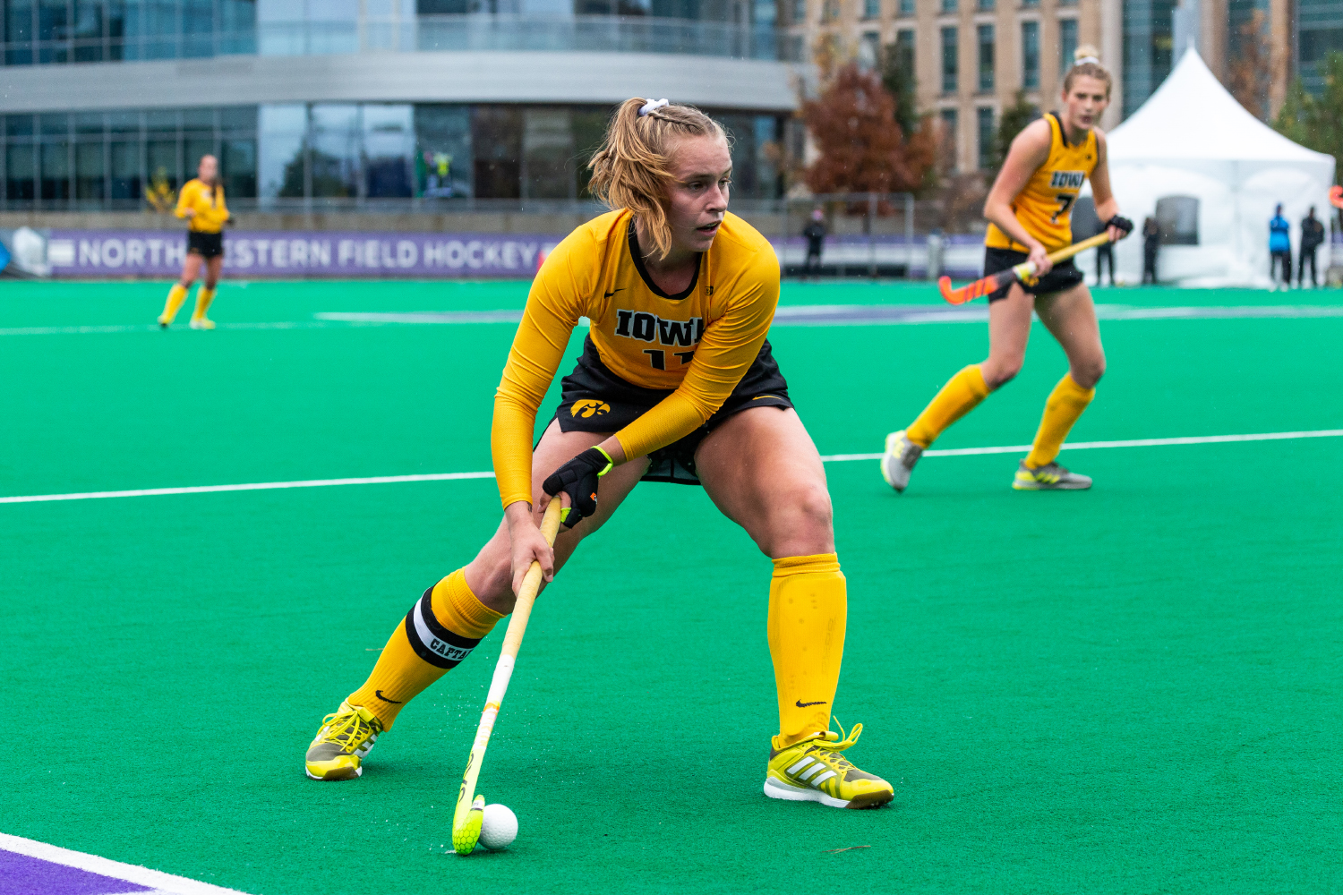 Iowa midfielder Katie Birch looks to pass the ball during the Championship Game in the Big Ten Field Hockey Tournament at Lakeside Field in Evanston, Illinois on Sunday, Nov. 3, 2018. The No. 2 ranked Terrapins defeated the No. 8 ranked Hawkeyes 2-1.