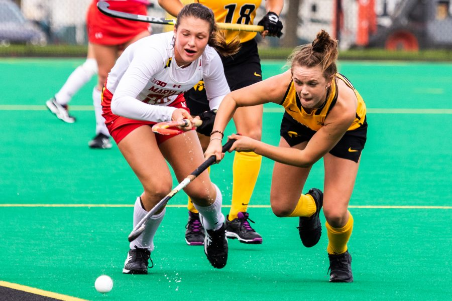Iowa forward Maddy Murphy chases the ball to the sideline during a field hockey match against Maryland on Sunday, Oct. 14, 2018. The no. 2 ranked Terrapins defeated the no. 8 ranked Hawkeyes 2-1. (David Harmantas/The Daily Iowan)