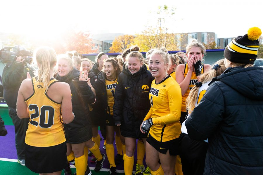 Iowa+midfielder+Makenna+Grewe+%28center%2C+left%29+smiles+as+the+Iowa+field+hockey+team+celebrates+after+the+Semifinals+in+the+Big+Ten+Field+Hockey+Tournament+at+Lakeside+Field+in+Evanston%2C+Illinois%2C+on+Friday%2C+Nov.+2%2C+2018.+The+No.+8+ranked+Hawkeyes+defeated+the+No.+7+ranked+Wolverines+2-1.+