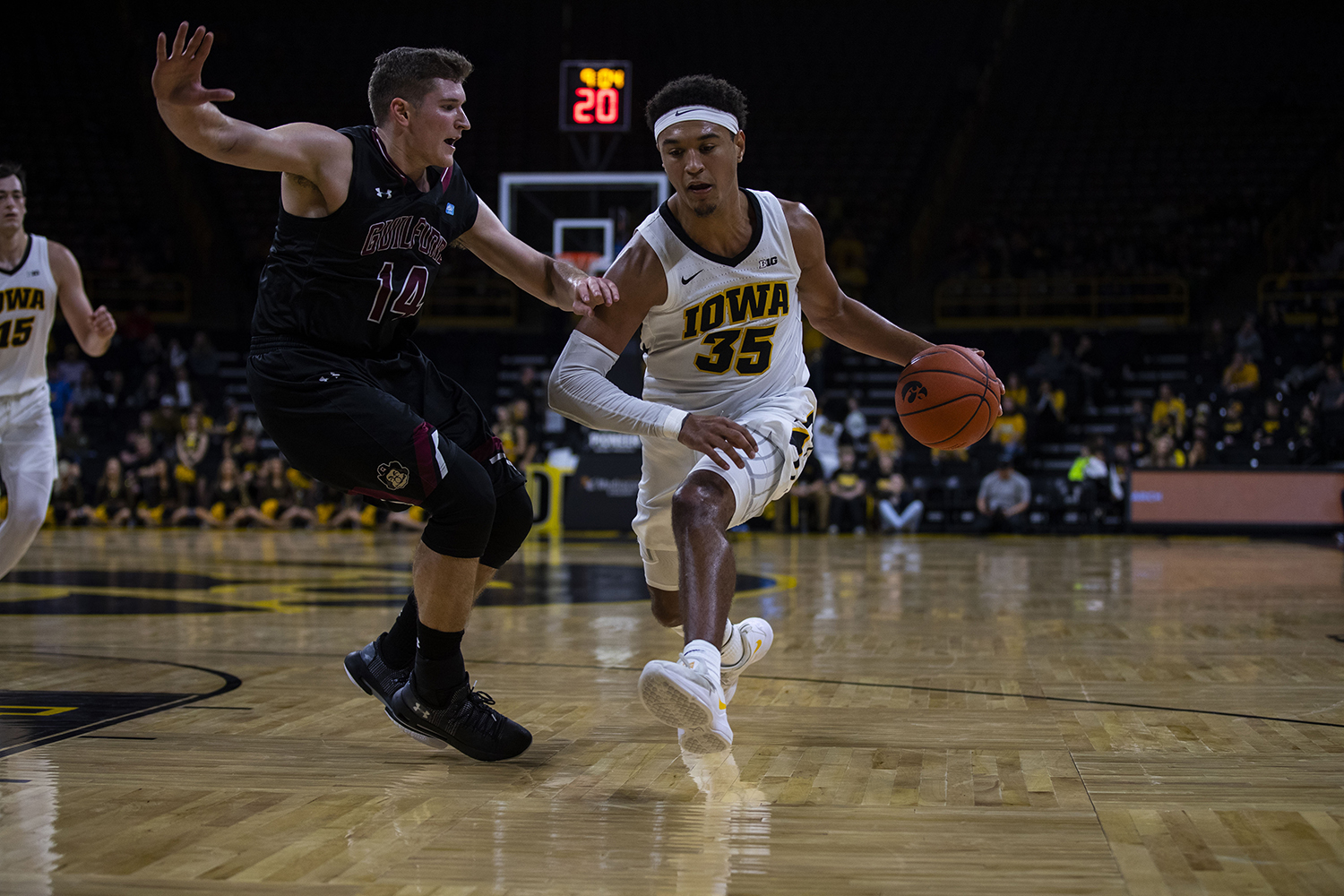 Iowa forward Cordell Pemsl drives to the hoop during the Iowa/Guilford College basketball game at Carver-Hawkeye Arena on Sunday, Nov. 4, 2018. The Hawkeyes defeated the Quakers, 103-46.