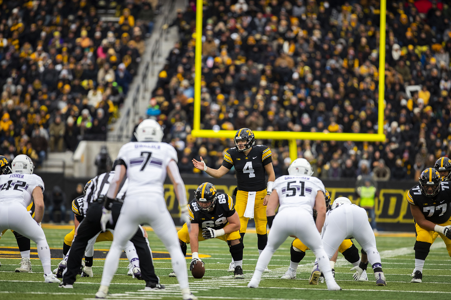 Iowa+quarterback+Nate+Stanley+gestures+during+the+Iowa%2FNorthwestern+football+game+at+Kinnick+Stadium+on+Saturday%2C+November+10%2C+2018.+The+Wildcats+defeated+the+Hawkeyes%2C+14-10.+%28Lily+Smith%2FThe+Daily+Iowan%29