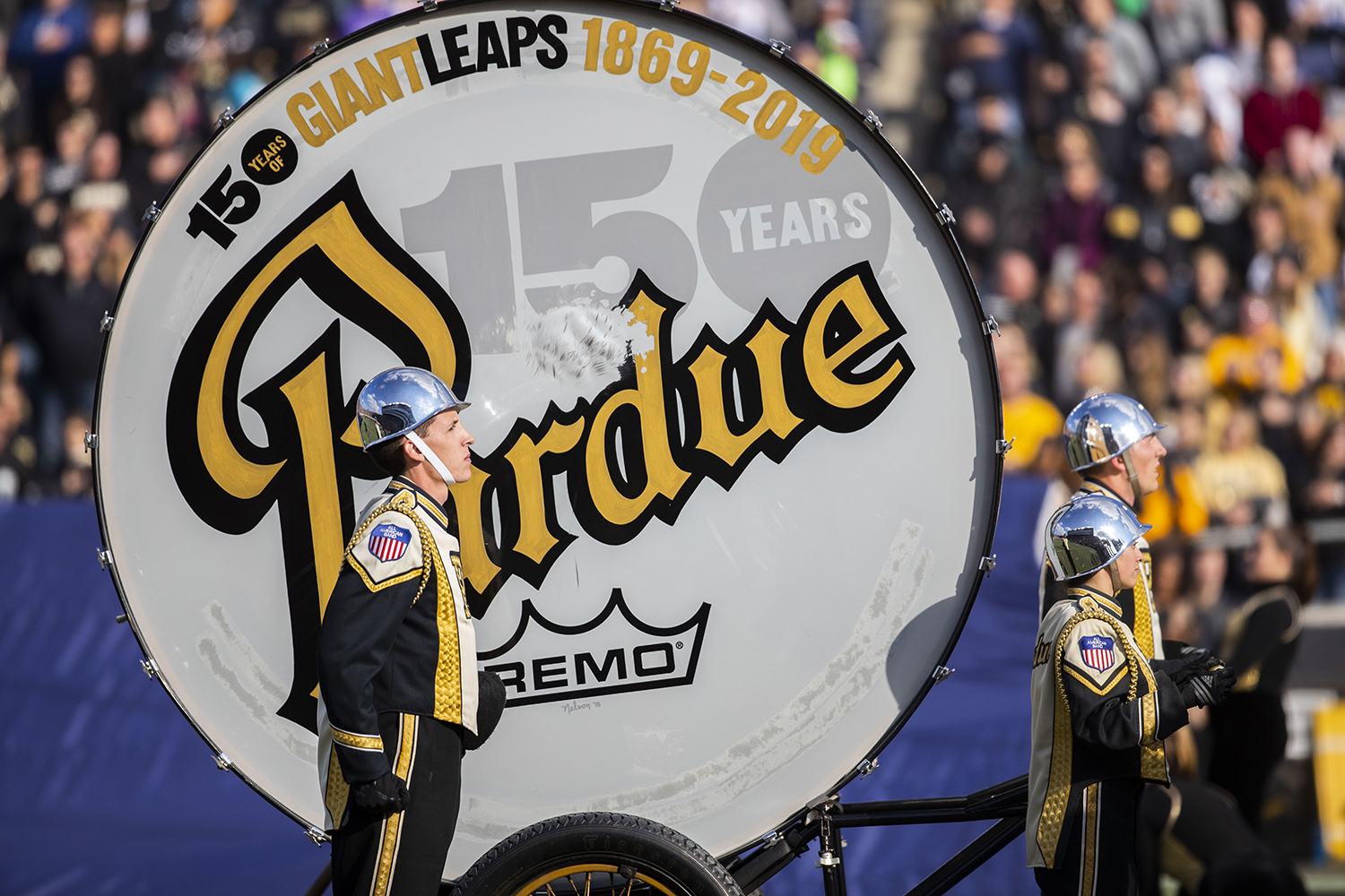 A+Purdue+All-American+Marching+Band+member+stands+with+their+oversized+bass+drum+during+the+Iowa%2FPurdue+game+at+Ross-Ade+Stadium+in+West+Lafayette%2C+Ind.+The+Boilermakers+defeated+the+Hawkeyes%2C+38-36%2C+with+a+last+second+field+goal.+