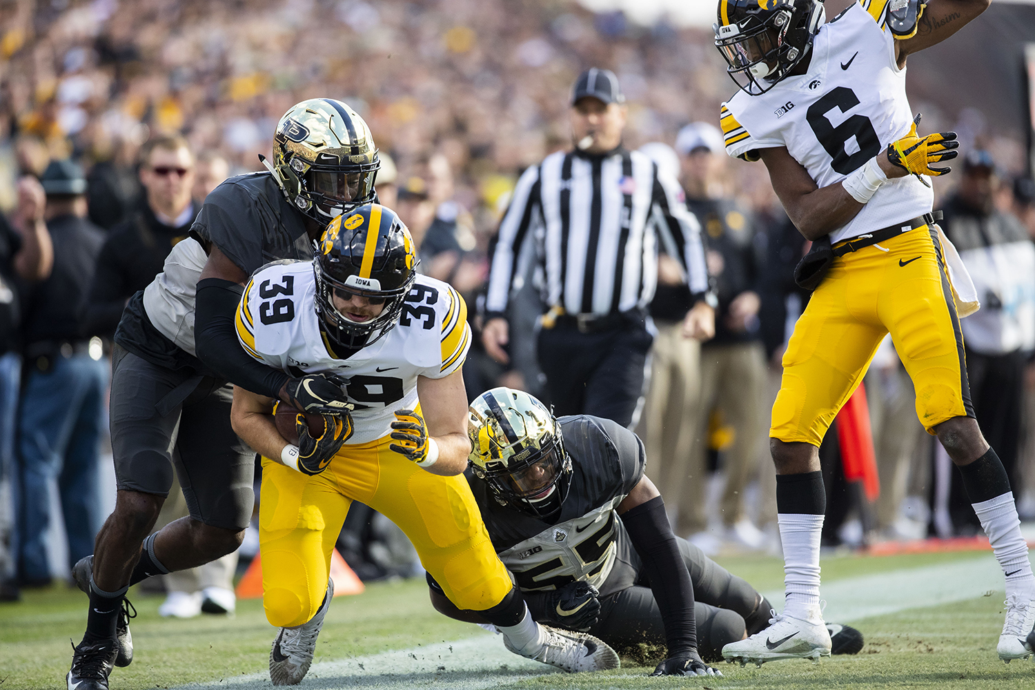 Iowa+tight+end+Nate+Wieting+gets+tackled++by+Purdue+defense+during+the+Iowa%2FPurdue+game+at+Ross-Ade+Stadium+in+West+Lafayette%2C+Ind.+The+Boilermakers+defeated+the+Hawkeyes%2C+38-36%2C+with+a+last+second+field+goal.+