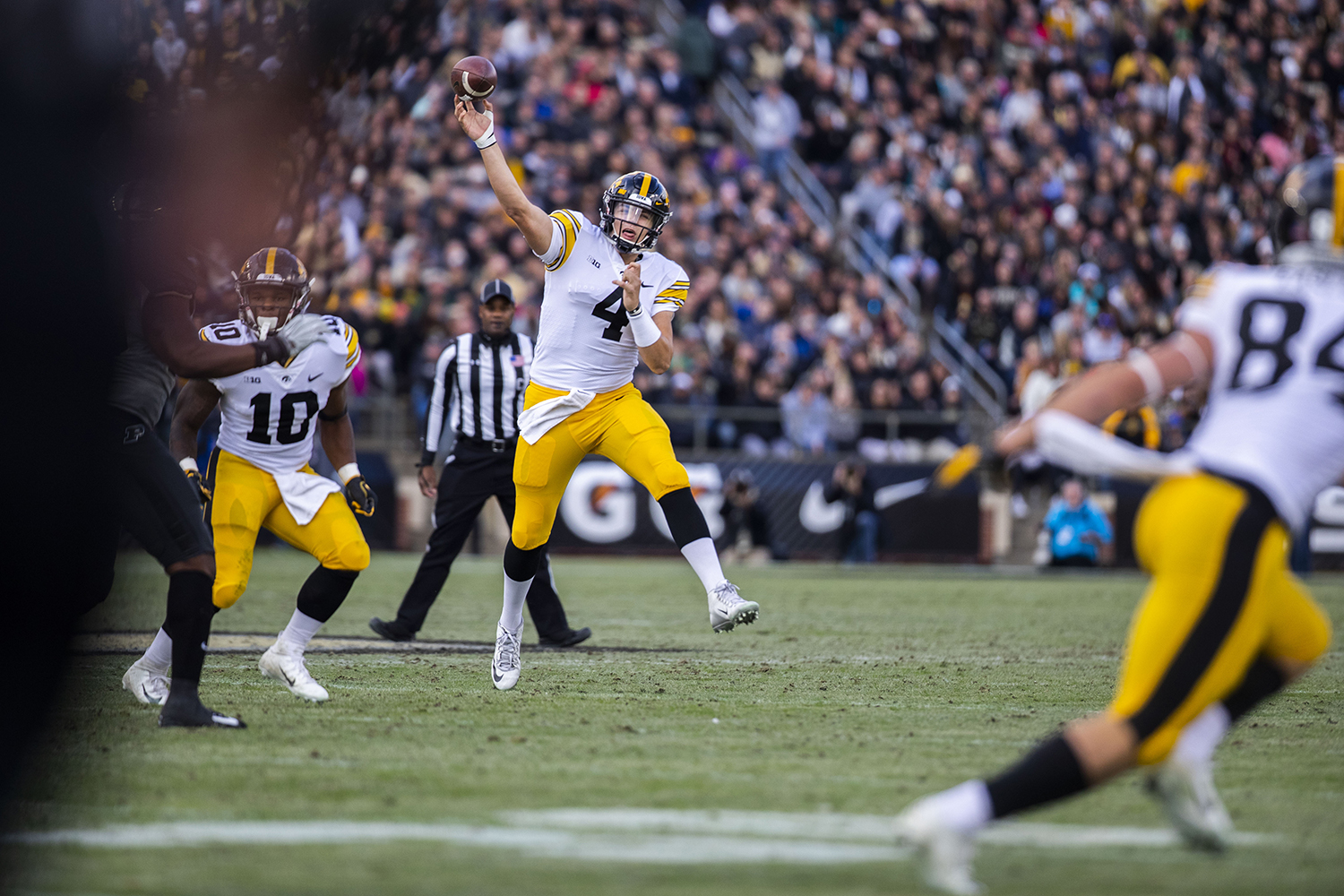 Iowa+quarterback+Nate+Stanley+throws+a+pass+during+the+Iowa%2FPurdue+game+at+Ross-Ade+Stadium+in+West+Lafayette%2C+Ind.+The+Boilermakers+defeated+the+Hawkeyes%2C+38-36%2C+with+a+last+second+field+goal.+