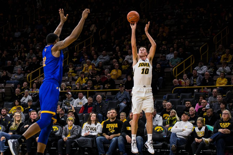 Iowa+guard+Joe+Wieskamp+shoots+a+three+pointer+during+Iowa%E2%80%99s+game+against+UMKC+at+Carver-Hawkeye+arena+on+November+8%2C+2018.+The+Hawkeyes+defeated+the+Kangaroos+77-63.