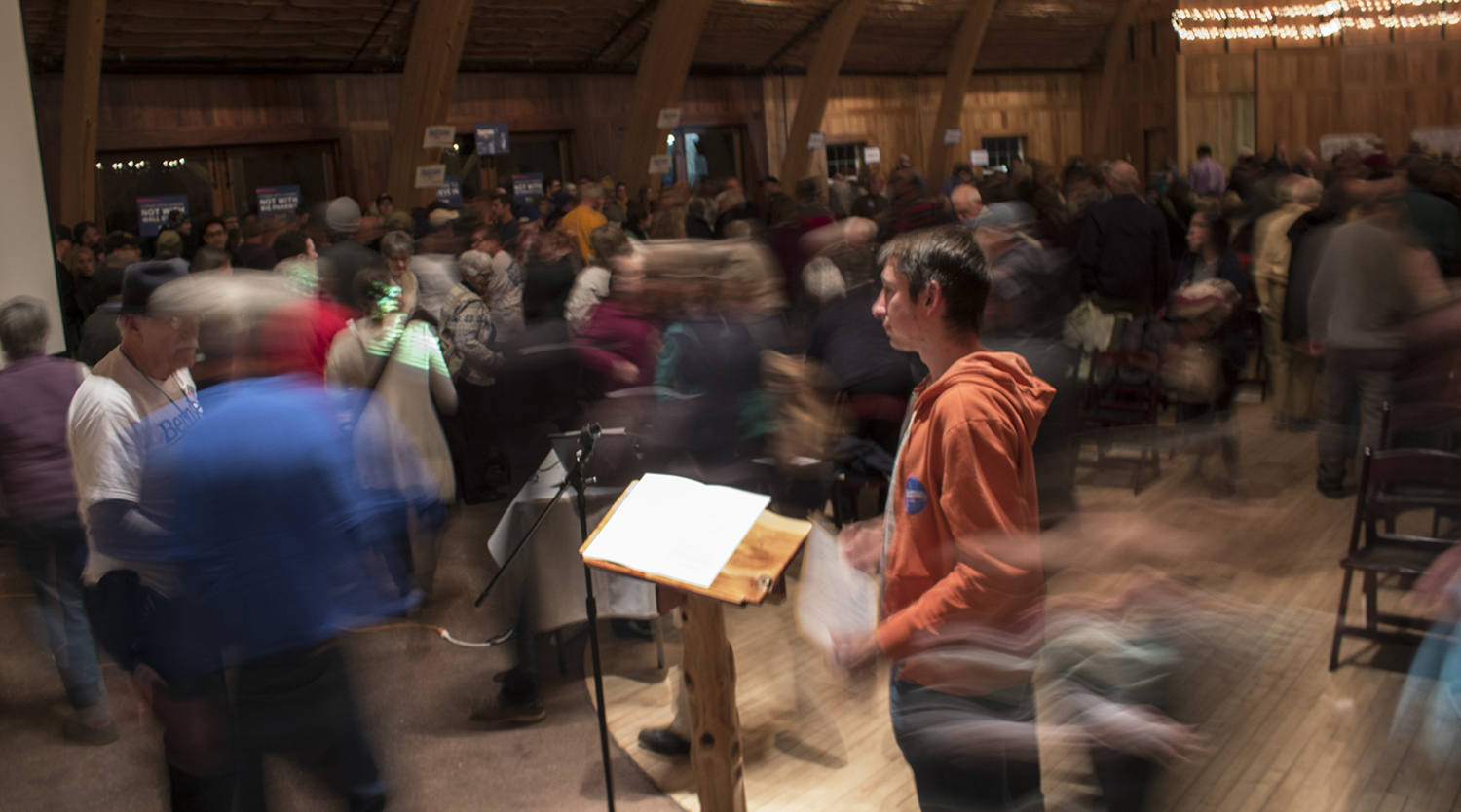 People move to different spots of the barn to be counted at the Democratic caucus at the Celebration Farm in Iowa City on Monday, Feb. 1, 2015. Democratic presidential candidate Hillary Clinton came out with four delegates while Bernie Sanders came out with three delegates.
