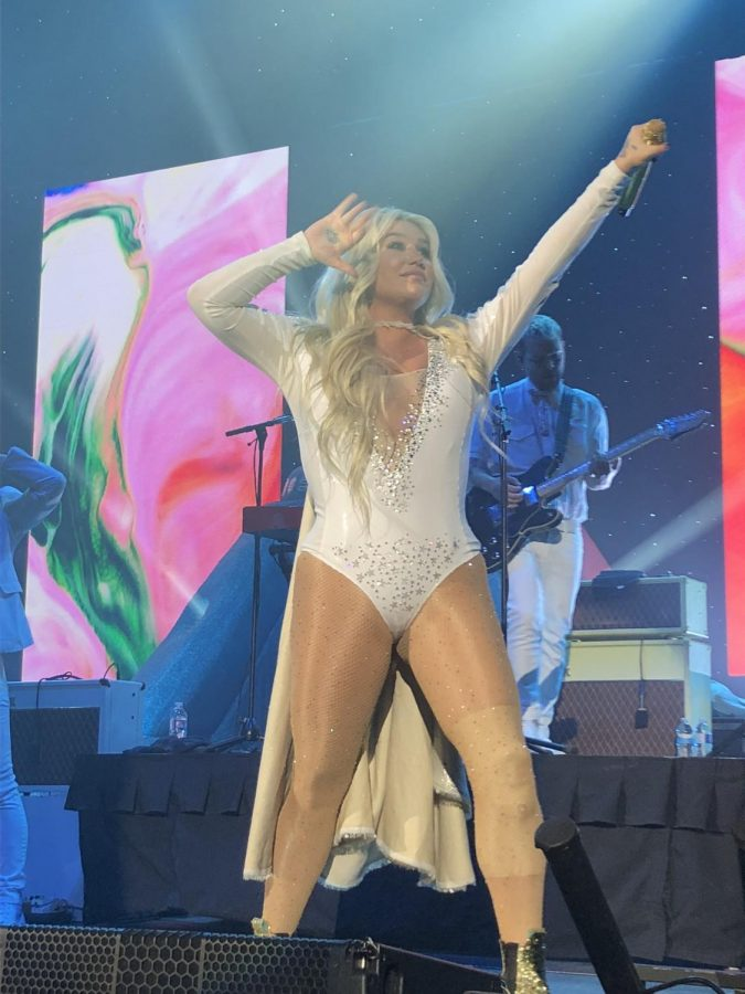 Kesha takes the stage at the US Cellular Center Friday night.