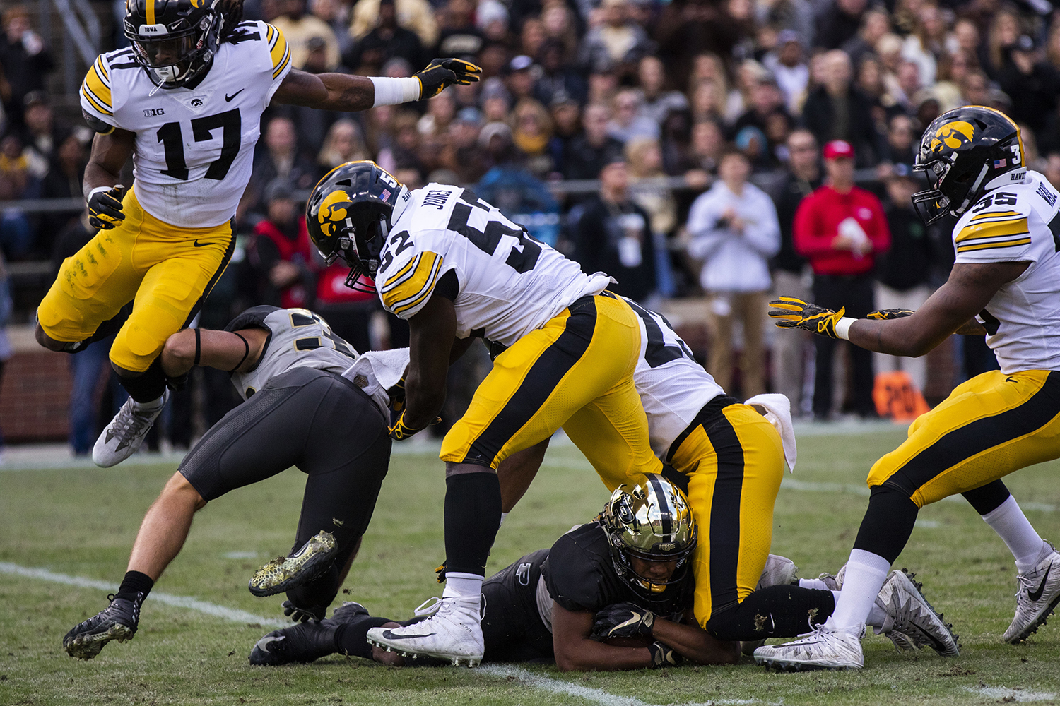 A+Purdue+player+is+bombarded+by+Iowa+defense+during+the+Iowa%2FPurdue+game+at+Ross-Ade+Stadium+in+West+Lafayette%2C+Ind.+The+Boilermakers+defeated+the+Hawkeyes%2C+38-36%2C+with+a+last+second+field+goal.+