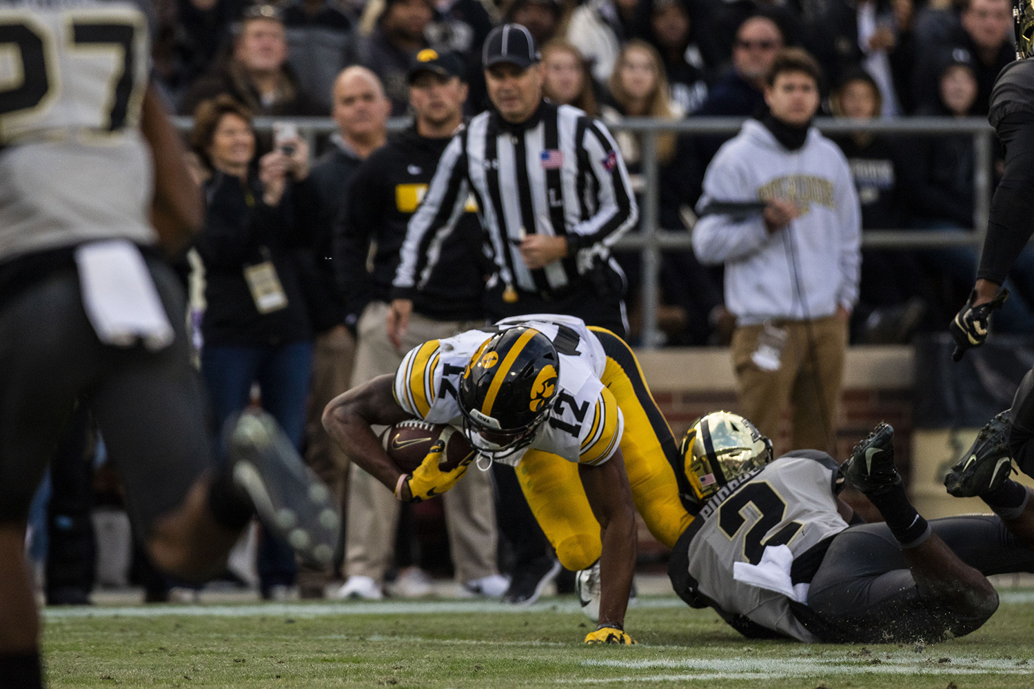 Iowa+wide+receiver+Brandon+Smith+is+tacked+by+Purdue+cornerback+Kennedy+Major+during+the+Iowa%2FPurdue+game+at+Ross-Ade+Stadium+in+West+Lafayette%2C+Ind.+The+Boilermakers+defeated+the+Hawkeyes%2C+38-36%2C+with+a+last+second+field+goal.+