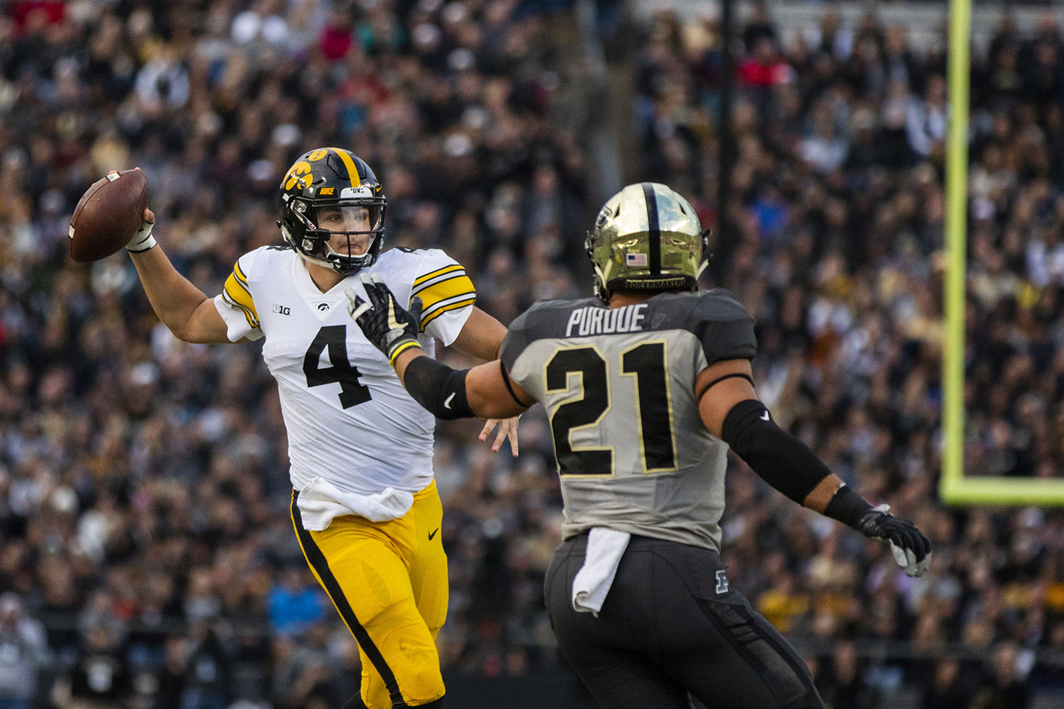 Iowa quarterback Nate Stanley throws a pass during the Iowa/Purdue game at Ross-Ade Stadium in West Lafayette, Ind. The Boilermakers defeated the Hawkeyes, 38-36, with a last second field goal.