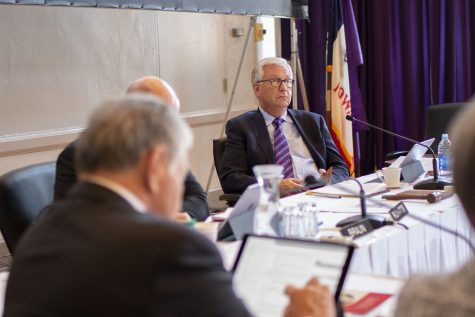 Regents President Mike Richards listens during the state Board of Regents meeting at the University of Northern Iowa in Cedar Falls on Friday, November 15, 2018.