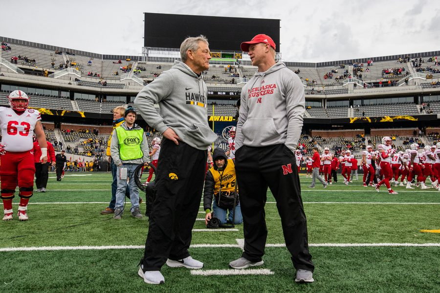 Iowa+head+coach+Kirk+Ferentz+and+Nebraska+head+coach+Scott+Frost+speak+before+the+Iowa+vs.+Nebraska+game+on+Friday%2C+Nov.+23%2C+2018.+Iowa+defeated+the+Huskers+31-28.
