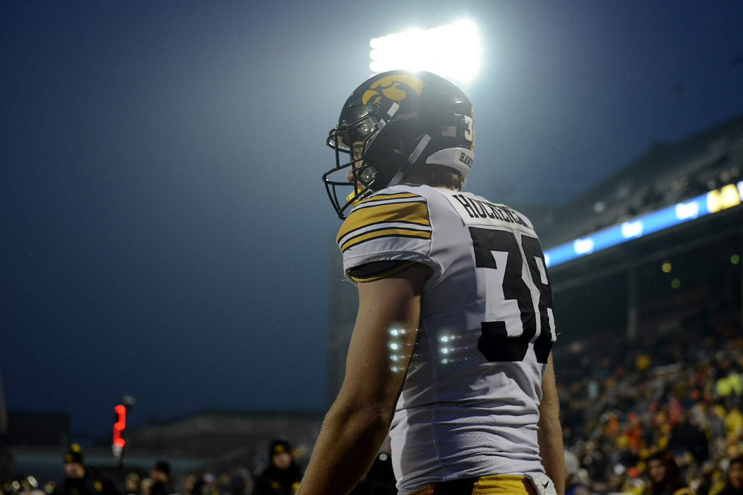 Iowa tight end T.J. Hockenson walks back onto the field after an incomplete pass during Iowa's game against Illinois at Memorial Stadium in Champaign, IL, on Saturday, Nov. 17, 2018. The Hawkeyes defeated the Fighting Illini 63-0.