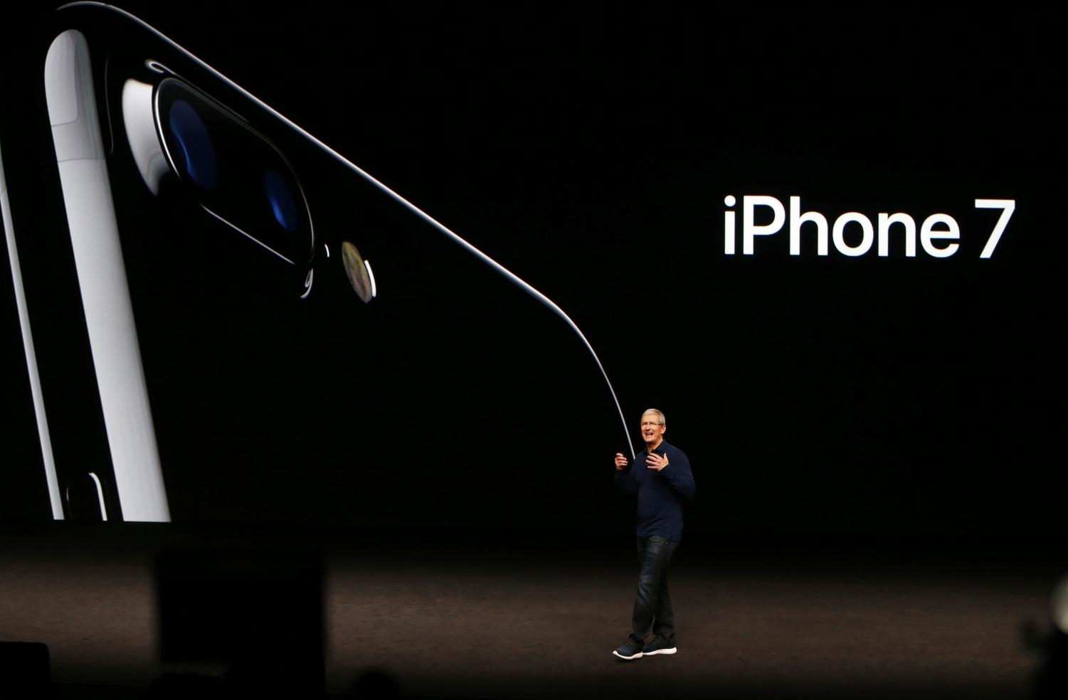 Apple CEO Tim Cook introduces the iPhone 7 at the product launch held at the Bill Graham Civic Auditorium in San Francisco on September 7, 2016. (Gary Reyes/Bay Area News Group/TNS)