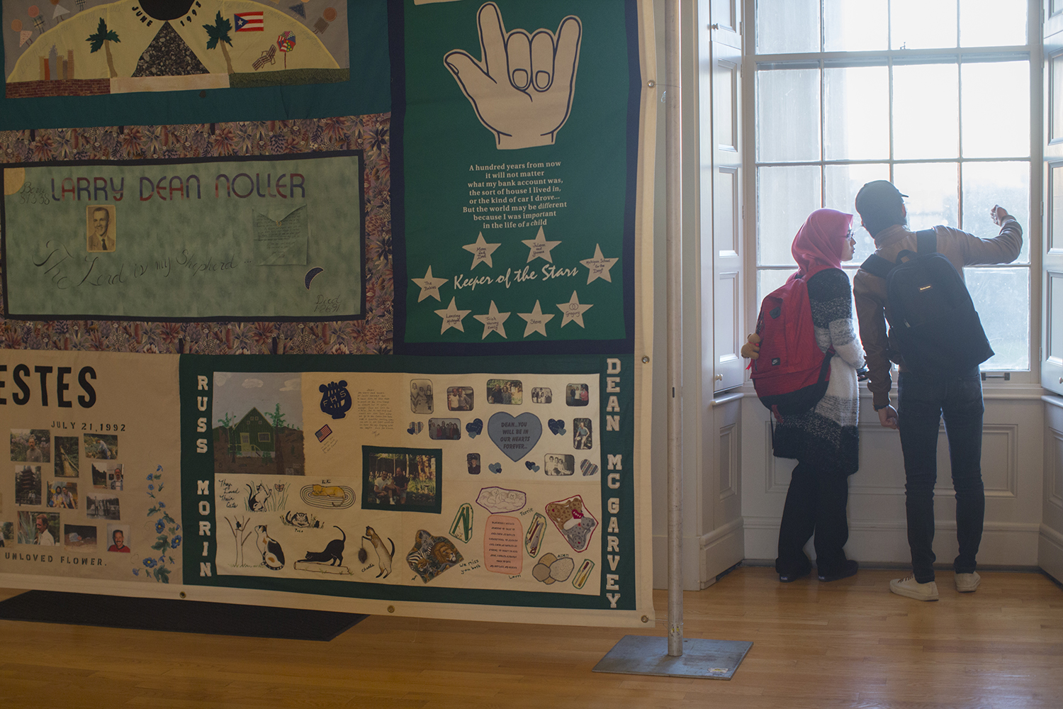 The AIDS memorial quilt is seen in the Old Capitol Museum on Thursday, Nov. 30, 2017. (Lily Smith/The Daily Iowan)