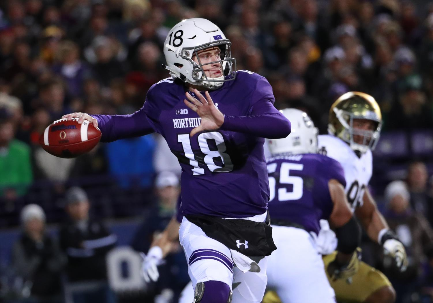 Northwestern Wildcats quarterback Clayton Thorson (18) throws a pass during the first half against the Notre Dame Fighting Irish at Ryan Field in Evanston, Ill., on Saturday, Nov. 31, 2018. Notre Dame won, 31-21. (Nuccio DiNuzzo/Chicago Tribune/TNS)