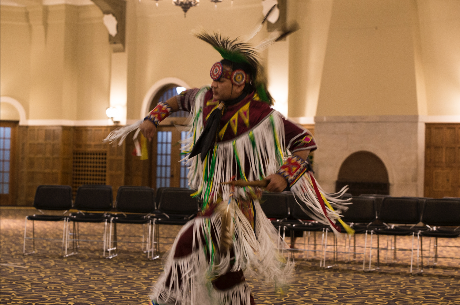 A traditional Grass Dance during  American Indian Dance Theater performance in the Main Ballroom of the IMU on Wednesday, Nov. 28. This event was hosted by the Native American Student Association.