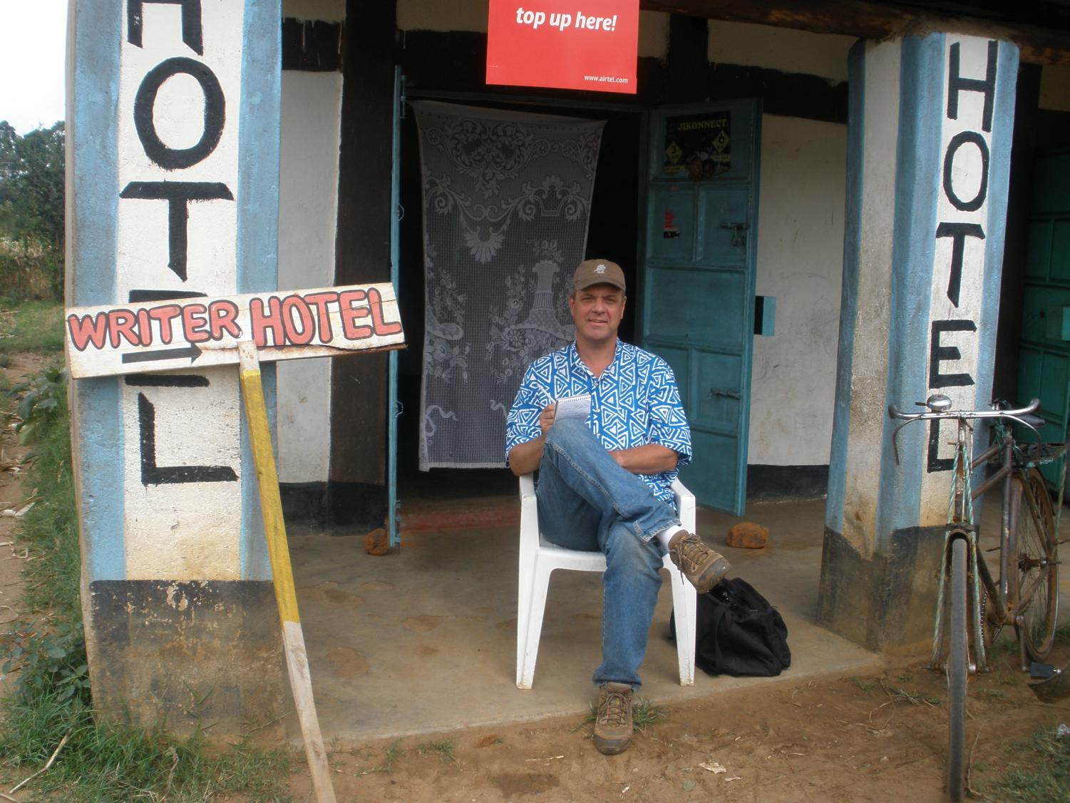 Roger Thurow sits at a hotel in Kenya.