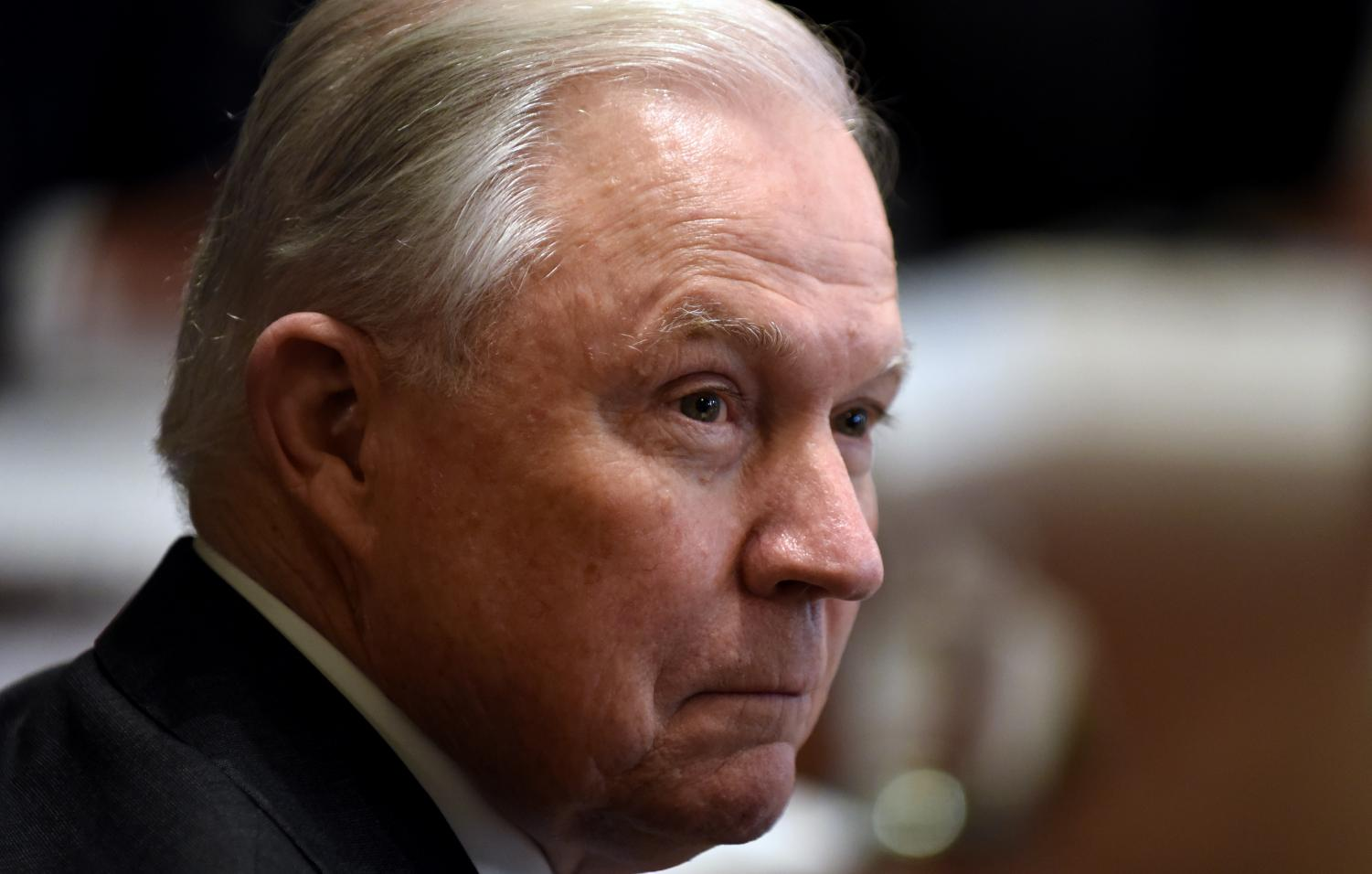 Attorney General Jeff Sessions looks on during a cabinet meeting in the Cabinet Room at the White House Oct. 17, 2018 in Washington, D.C. (Olivier Douliery/Abaca Press/TNS)