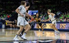 Iowa sophomore Alexis Sevillian dribbles down the court during a basketball match between Iowa and Notre Dame in South Bend, IN on Thursday, November 29, 2018. The Hawkeyes were defeated by the Fighting Irish, 105-71. (Shivansh Ahuja/The Daily Iowan)