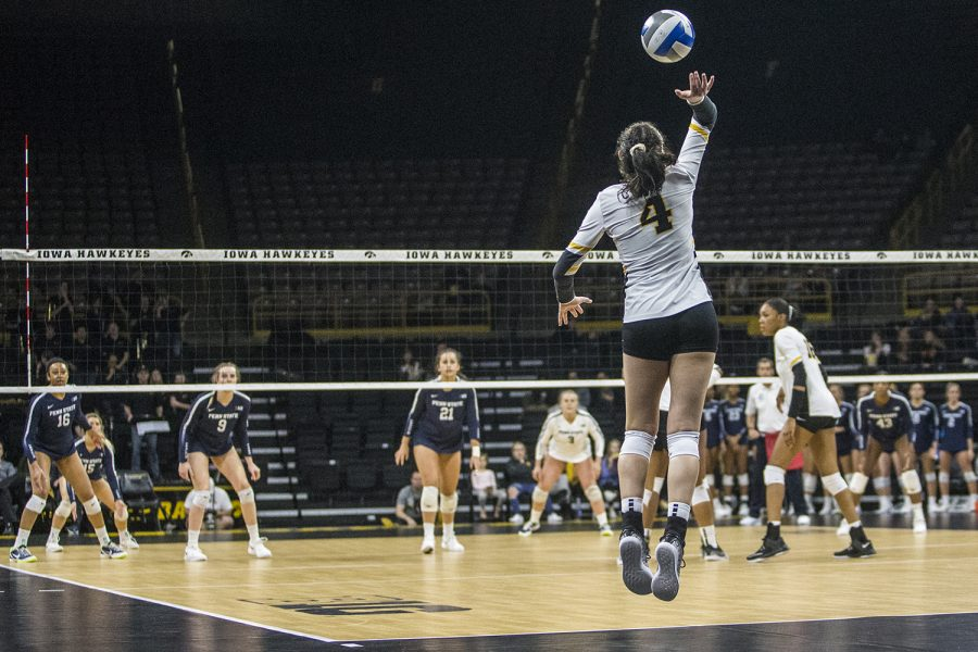 Iowa+sophomore+Halle+Johnston+serves+during+a+volleyball+match+between+Iowa+and+Penn+State+at+Carver-Hawkeye+Arena+on+Saturday%2C+Nov.+3%2C+2018.+