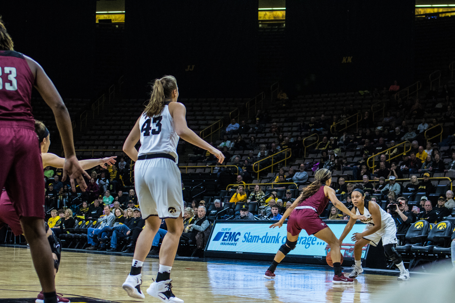 Iowa+guard+Tania+Davis+dribbles+the+ball+during+a+women%27s+basketball+game+between+Iowa+and+North+Carolina+Central+at+Carver-Hawkeye+Arena+on+Saturday%2C+Nov.+17%2C+2018.+The+Hawkeyes+devastated+the+visiting+Eagles%2C+106-39.+